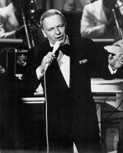 Frank Sinatra in tuxedo singing with orchestra 1970's era 8x10 inch photo