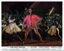 The Last Safari Gabrielle Licudi in open shirt dancing in Kenyan village 8x10