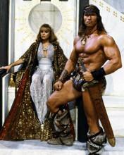 Conan the Destroyer Olivia D'Abo sits on throne Arnold Schwarzenegger 8x10 photo