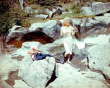 Marilyn Monroe in her undergarments on rocks River of No return 8x10 inch photo
