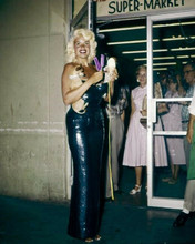 Jayne Mansfield full length in blue sequined dress opens supermarket 8x10 inch p