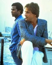 Miami Vice TV Don Johnson Philip Michael Thomas on boat in harbor 8x10 photo