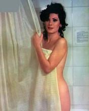 Edwige Fenech in shower holding curtain around herself 8x10 photo