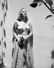 Veronica Lake beautiful glamour pose holding flowers next to wall 8x10 photo