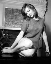 Mylene Demongeot as a brunette leggy pose in short dress seated 8x10 inch photo