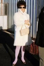 Elizabeth Taylor classic in white fur coat wearing sunglasses 1960's 4x6 photo