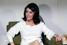Elizabeth Taylor candid pose in white dress c. 1964 seated in chair 4x6 photo