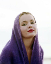 Tuesday Weld covers her head with purple scarf beautiful portrait 8x10 photo