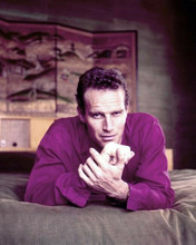 Charlton Heston 1958 pose in red shirt lying on bed at his home 8x10 inch photo