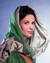 Claire Bloom 1960's studio portrait in green dress with hood 8x10 inch photo