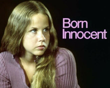 Linda Blair in purple sweater 1974 Born Innocent TV movie 8x10 inch photo & logo