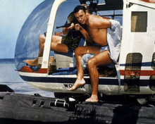 Thunderball bare chested Sean Connery exits helicopter 8x10 inch photo