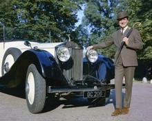 Patrick Macnee as John Steed poses next to Avengers Rolls Royce 8x10 inch photo