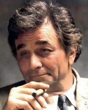 Peter Falk with quizzical look as Columbo holding cigar 1970's era 8x10 photo