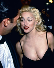 Madonna wears very low cut black dress c.early 1980's candid pose 8x10 photo