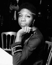 Nina Simone 1960's pose seated posing for cameras at press conference 8x10 photo