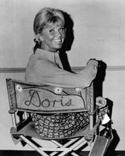 Doris Day sits on her studio chair smiling The Doris Day Show 8x10 inch photo