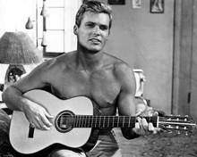 Ty Hardin Bronco western TV series beefcake bare chest playing guitar 8x10 photo
