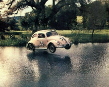 The Love Bug Herbie VW Beetle No 53 in flight zooms across river 8x10 inch photo