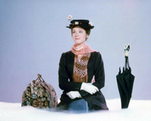Julie Andrews as Mary Poppins sitting on cloud with umbrella and carpetbag 8x10