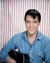 Elvis Presley looks cool in blue denim shirt holding guitar smiling 8x10 photo