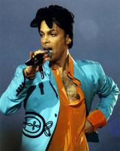 Prince very cool portrait in concert singing in orange shirt & blue jacket 8x10