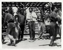 Davy Crockett fess Parker Buddy Ebsen stand at microphone on set 8x10 photo