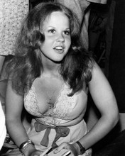 Linda Blair busty in low cut dress c.1976 at press conference 8x10 inch photo