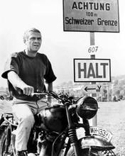Steve McQueen sits astride Triumph bike by Swiss border Great Escape 8x10 photo