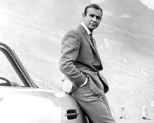 Sean Connery as Bond leaning on Aston in mountains Goldfinger 8x10 inch photo