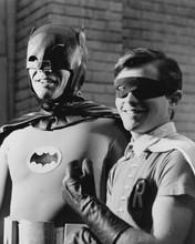 Batman TV series Adam West Burt Ward in costumes on set smiling 8x10 inch photo