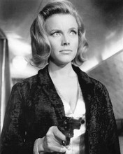 Honor Blackman as Pussy Galore pointing gun Goldfinger 8x10 inch photo