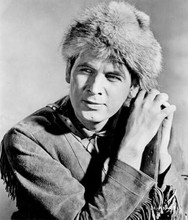 Fess Parker as Daniel Boone in bucksin jacket and hat 8x10 inch photo