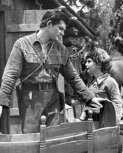 Daniel Boone Fess Parker Darby Hinton outside log cabin 8x10 inch photo