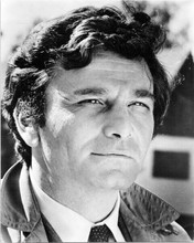 Peter Falk as Columbo 1970's with raincoat collar turned up 8x10 inch photo