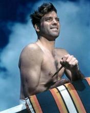 Burt Lancaster 1950's beefcake bare chested pose in swim shorts 8x10 inch photo