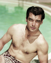 Rory Calhoun beefcake barechested portrait in speedos by pool 8x10 inch photo