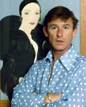 Roddy McDowall 1970's portrait in blue polka dot shirt 8x10 inch photo