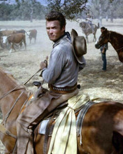 Clint Eastwood on his horse as Rowdy Yates in cattle drive Rawhide 8x10 photo