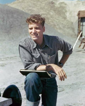 Burt Lancaster 1940's pose in shirt & jeans on location holds script 8x10 photo
