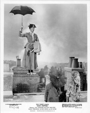 Mary Poppins descends on rooftop with umbrella original 8x10 photo R1973