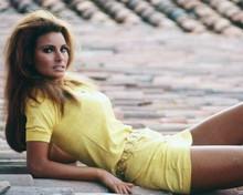 Raquel Welch wears classic 1960's yellow mini dress leggy pose 8x10 inch photo