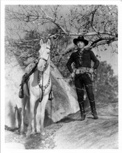 William Boyd hand on gun standing with horse Topper Hopalong Cassidy 8x10 photo