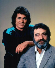 Highway To heaven Michael Landon leans on Victor French 8x10 inch photo