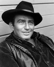 James Drury in trademark black hat & waistcoat as The Virginian 8x10 inch photo