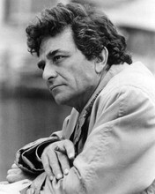 Peter Falk in raincoat holding cigar in thoughtful mood as Columbo 8x10 photo