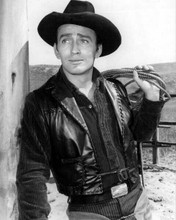 The Virginian TV series James Drury as ranch foreman holding rope 8x10 photo