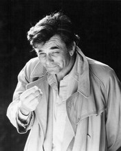 Peter Falk as Columbo wears unbuttoned shirt with his raincoat 8x10 inch photo