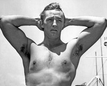 Robert Mitchum beefcake bare chested pose arms raised above his head 8x10 photo