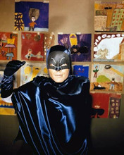 Adam West in his Batman outfit visits school poses against wall 8x10 inch photo
